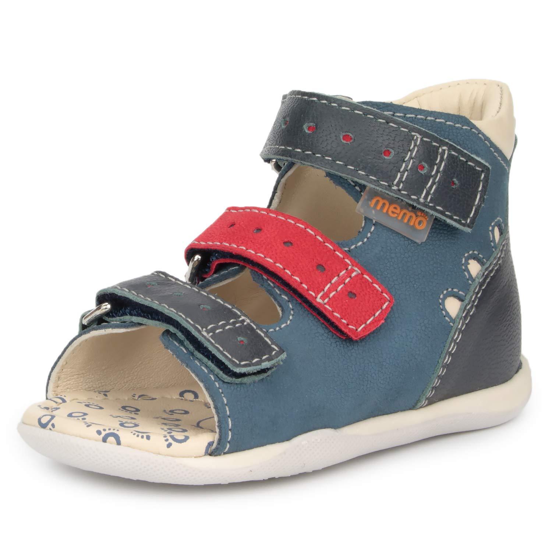 Memo Dino Boys' First Walker Toddler Orthopedic Leather Anti-Slip Sandal, Navy Blue/Red, 4T US (19 EU) by Memo