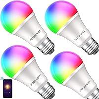 Bombilla inteligente con luz blanca suave, Fosmart 16 millones de RGB que cambia de color regulable, funciona con Alexa…