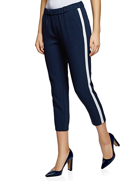 Oodji Ultra Women S Elastic Waistband Trousers With Side Stripes At