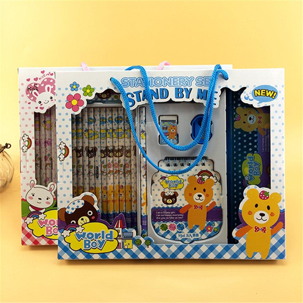17pcs in a Box Kawaii Cute stationary Cartoon kids stationery sets for girls kids School Student classroom storage