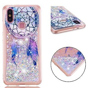 Funda Xiaomi Mi A2 (Mi 6X) Carcasa Purpurina, Lyzwn Xiaomi Mi A2 (Mi 6X) Carcasa TPU Caso Estuche 3D Creativa Diseño Lujo Moda Cristal Bling Ultra ...