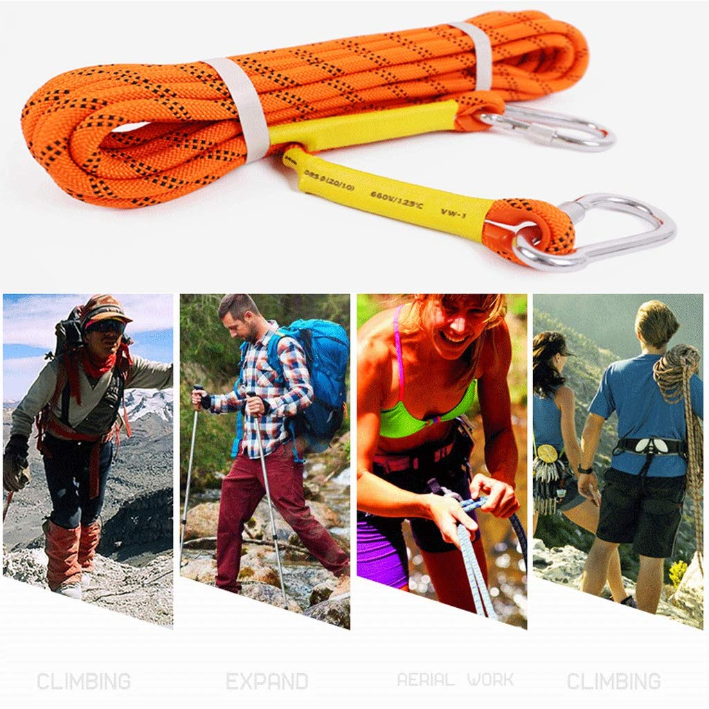 MLM clbrp Orange Climbing Rope high Altitude Rappelling Rope, Polar ice Climbing Rope Escape Auxiliary Rope with 2 Carabiner a Gift Bag Diameter 14 mm (Color : 14MM, Size : 50m) by MLM clbrp
