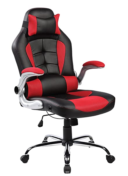 Merax High Back Ergonomic Pu Leather Office Chair Racing Style Swivel Chair  Computer Desk Lumbar