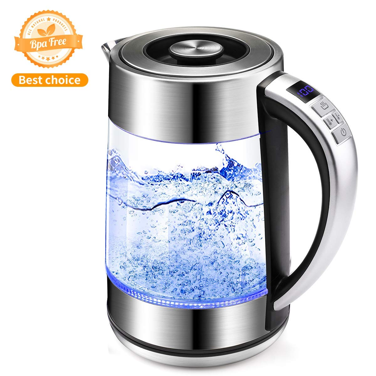 Electric Glass Kettle Cordless,1.7 L Morpilot Stainless Steel Kettle Blue Illumination LED Light,Fast Boil Kettles Auto Shut Off, BPA Free Electric Water Tanks Kettle for Coffee,Tea, Espresso,Formula