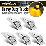 5x Amber/Yellow 7LED Chrome Upper Cab Marker Lights Clear Lens M27011Y for Truck Trailer Peterbilt Kenworth Freightliner Mack Western Star