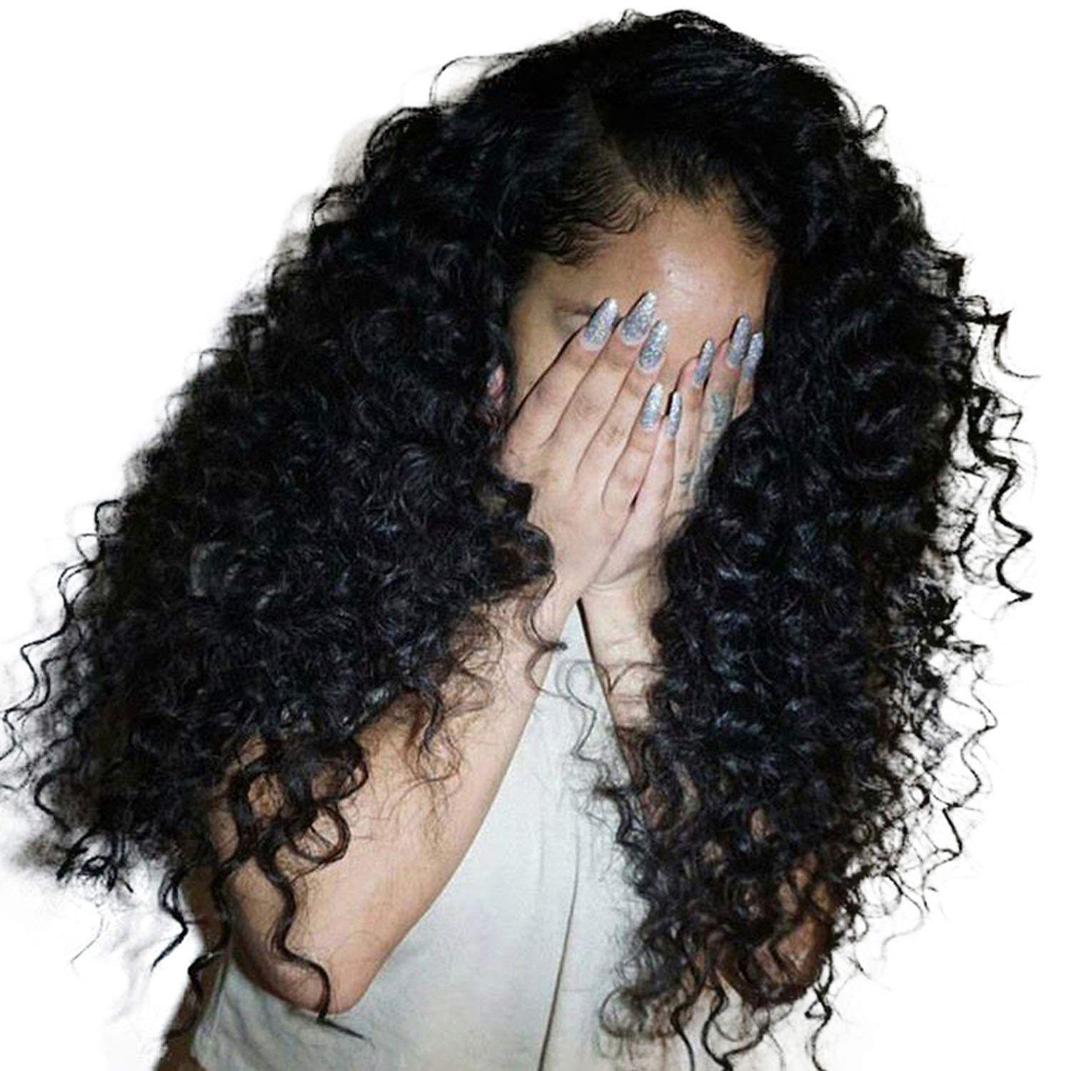 SA Tshirt Deep Curly Lace Front Human Hair Wigs for Women Brazilian Hair Lace Frontal Wig,12inches TDT