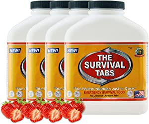 Survival Tabs 60-Day Food Supply Emergency Food Ration 720 tabs Survival MREs for Disaster Preparedness for Earthquake Flood Tsunami Gluten Free and Non-GMO 25 Years Shelf Life - Strawberry Flavor