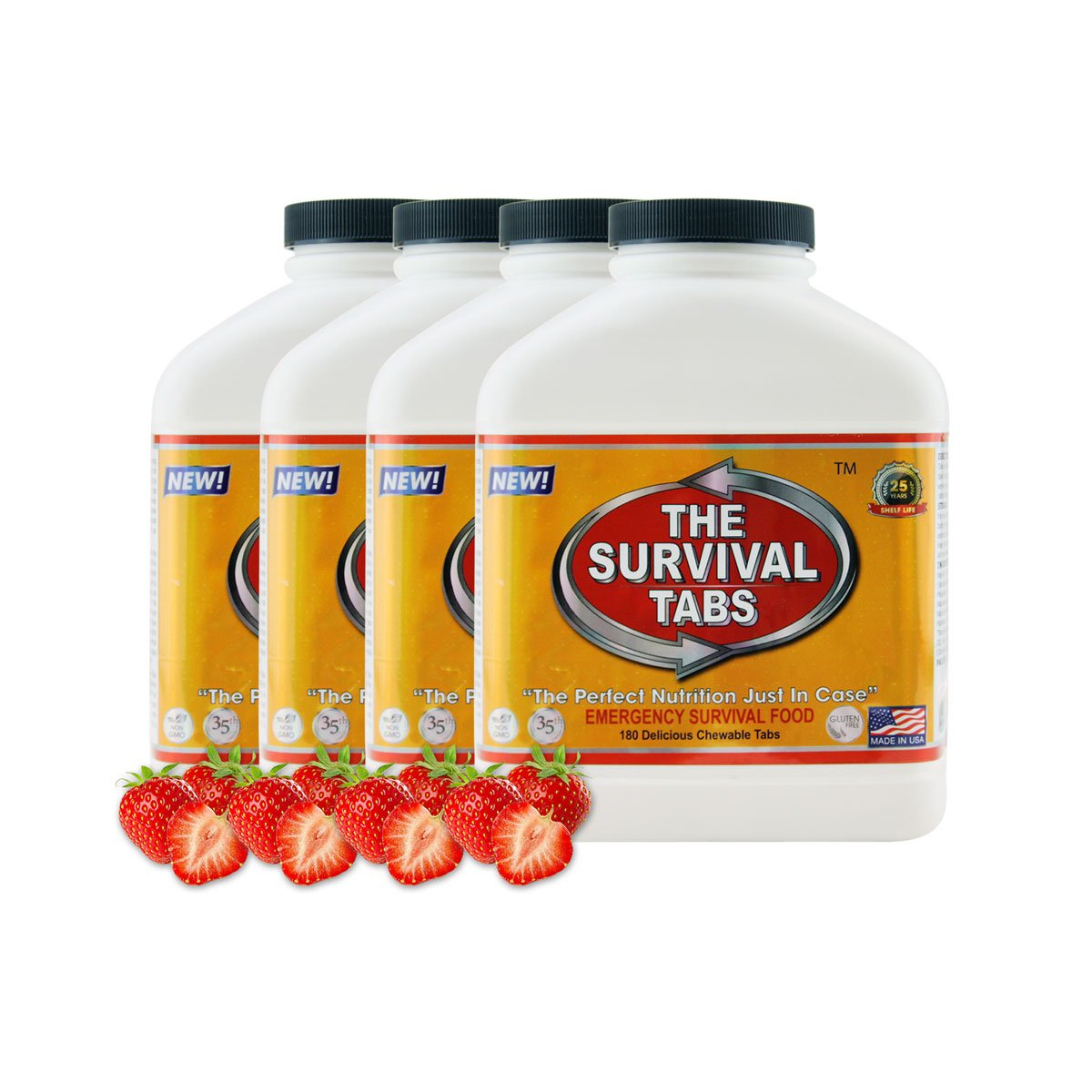 Survival Tabs 60-day Food Supply Emergency Food Ration 720 tabs Survival MREs for Disaster Preparedness for Earthquake Flood Tsunami Gluten Free and Non-GMO 25 Years Shelf Life - Strawberry Flavor by The Survival Tabs