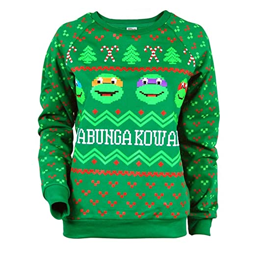 womens teenage mutant ninja turtles christmas sweater green xl uk 14 green amazoncouk clothing