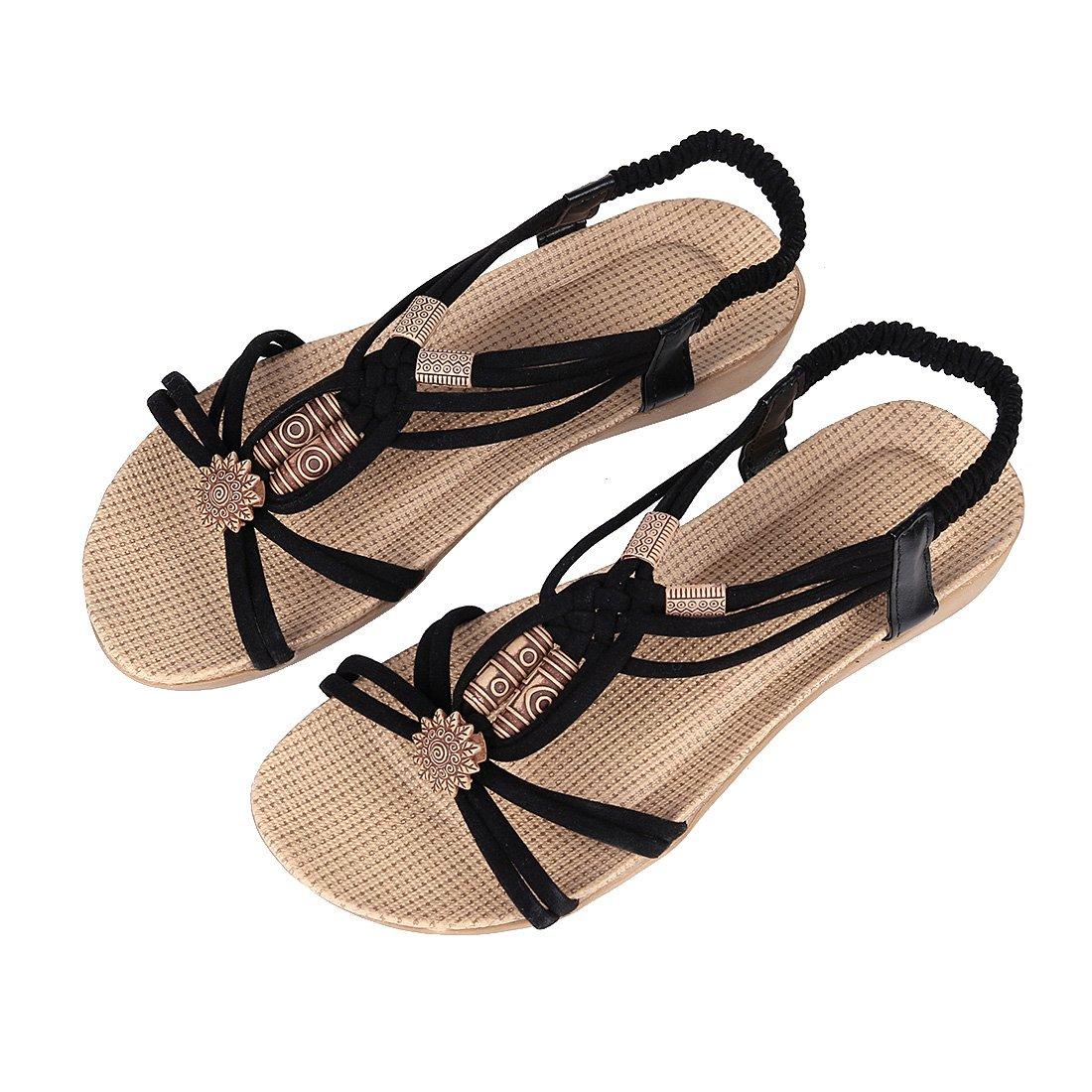 Women's Vintage Flat Sandal Summer Beach Peep Toe Strap Sandals H42