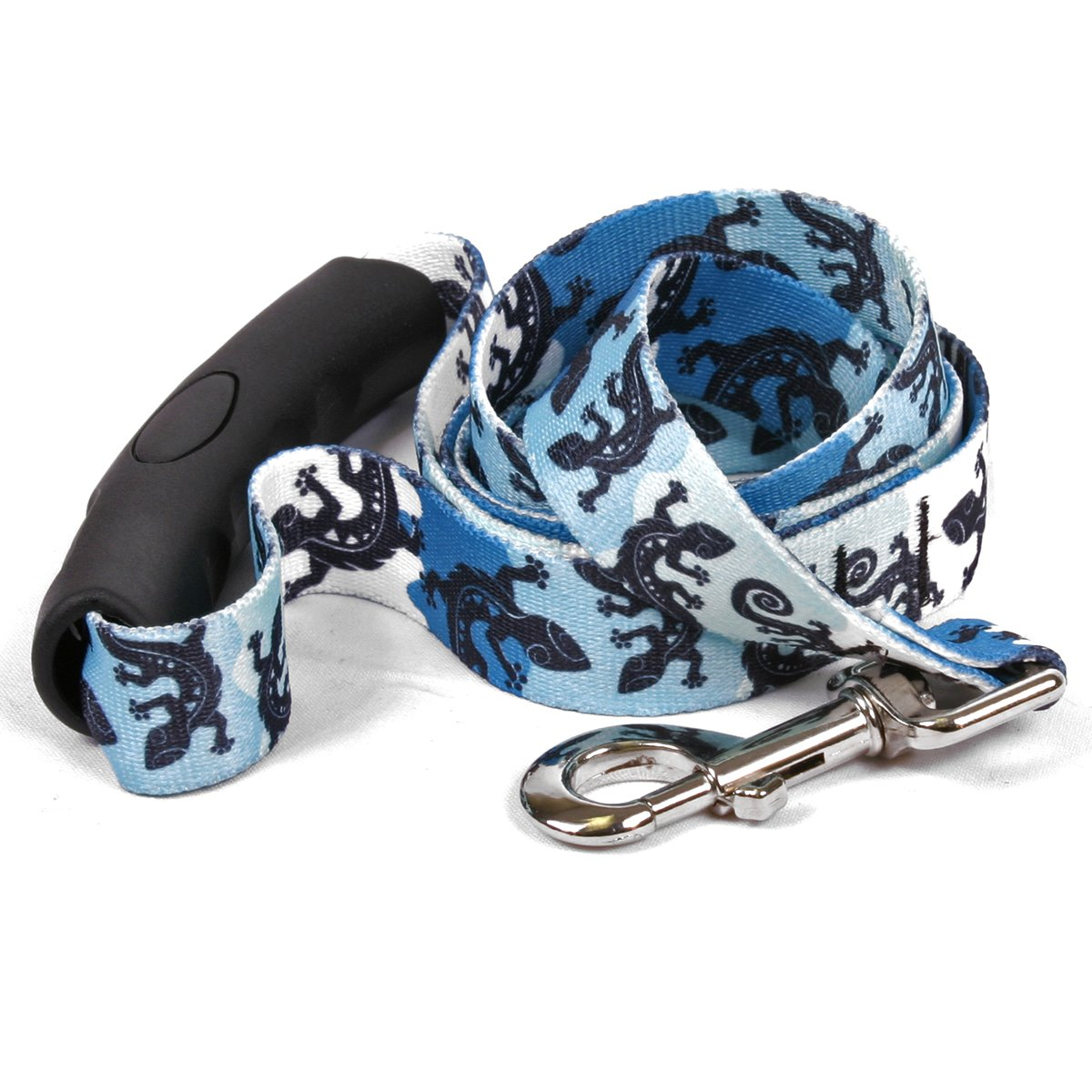 Yellow Dog Design Geckos Teal Ez-Grip Dog Leash with Comfort Handle 3/4'' Wide and 5' (60'') Long, Small/Medium
