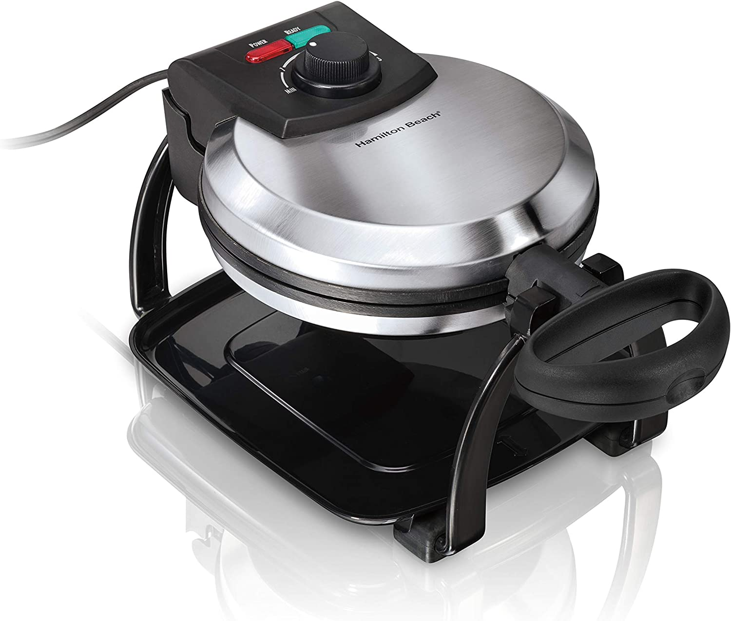 Hamilton Beach Flip Belgian Waffle Maker with Browning Control, Non-Stick Grids, Indicator Lights, Lid Lock and Drip Tray, Stainless Steel 26010R