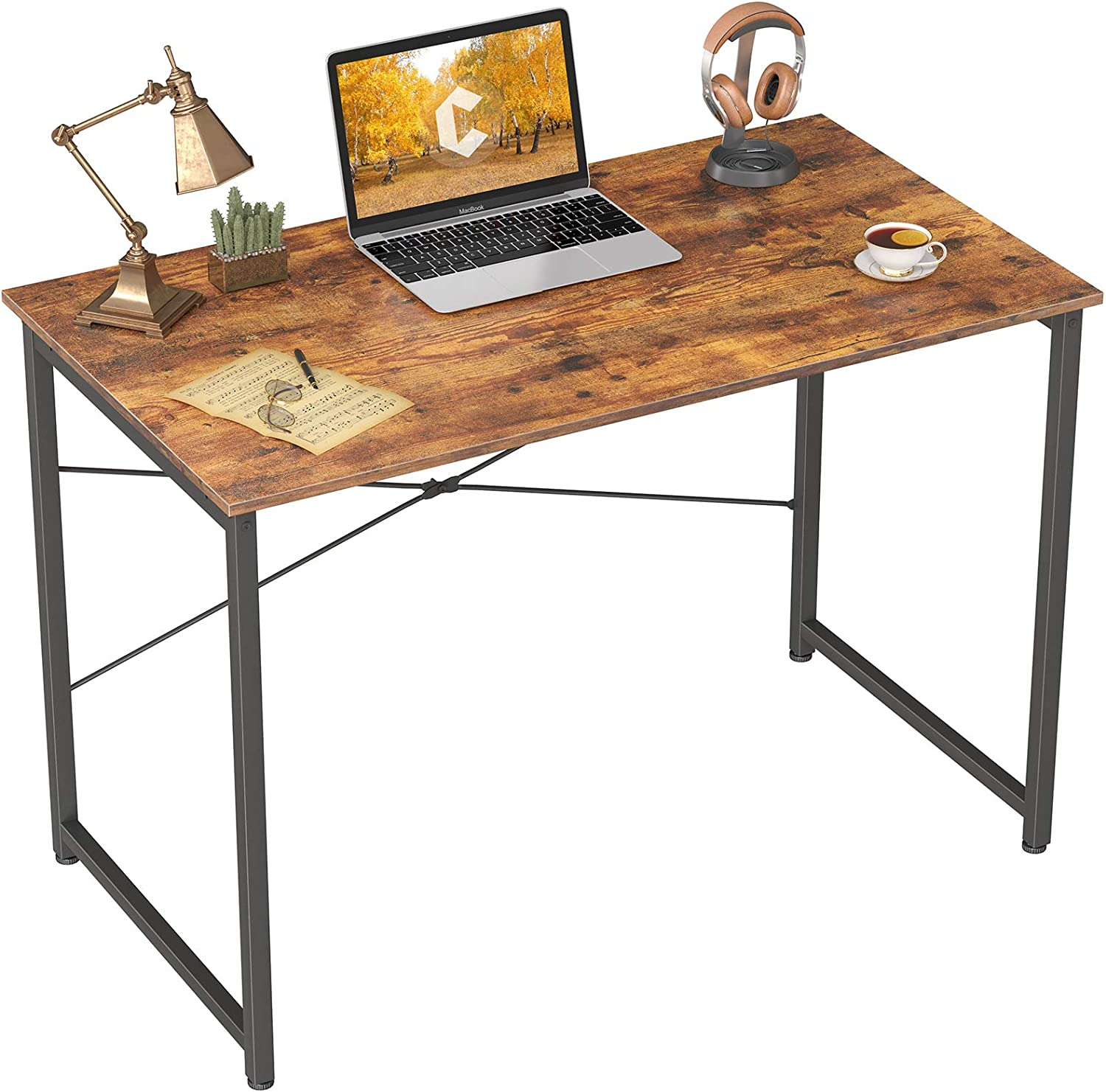 """Cubicubi Computer Desk 32"""" Home Office Laptop Desk Study Writing Table, Modern Simple Style, Rustic Brown"""
