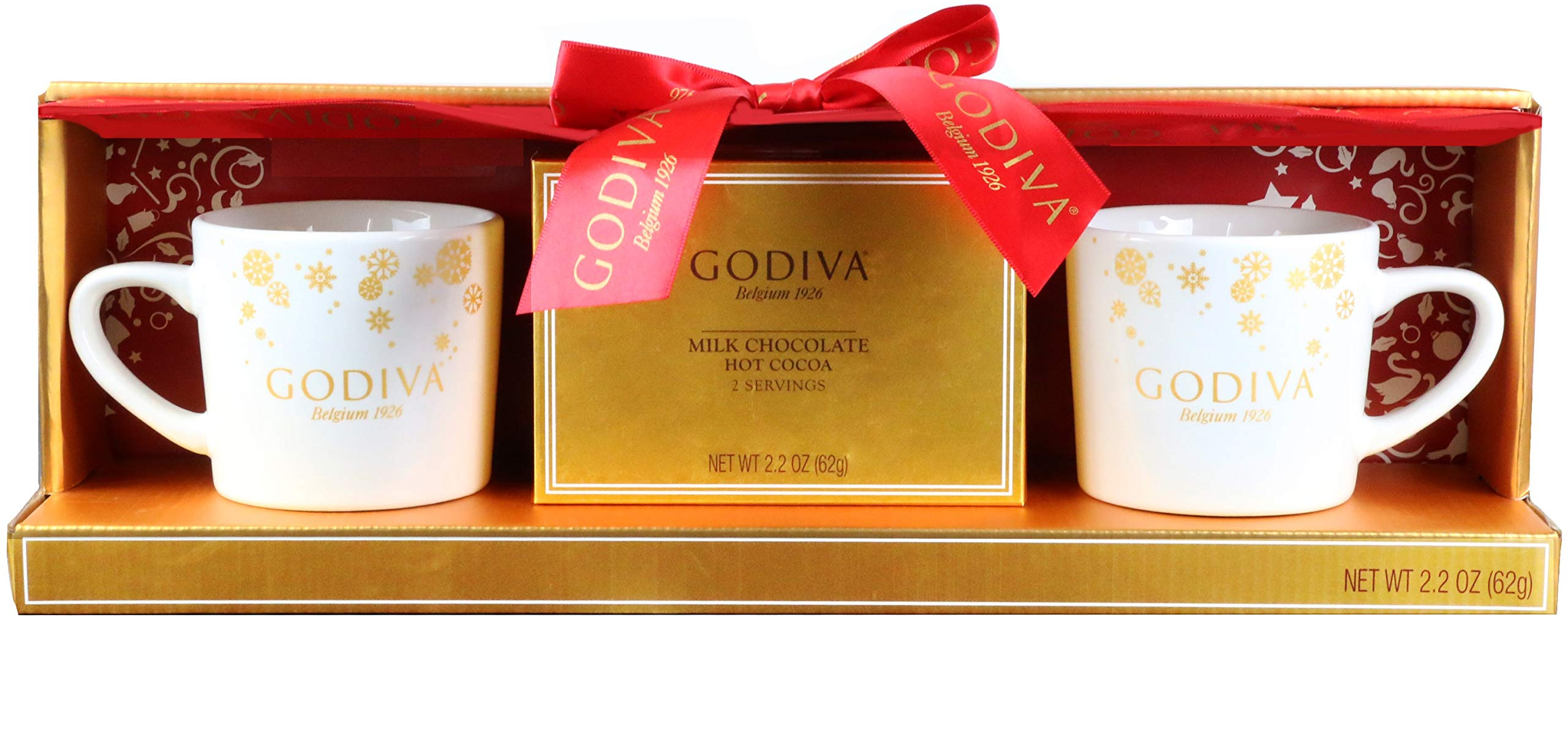 Thoughtfully Gifts, Godiva Cocoa for 2 Gift Set, Includes 2 Mugs and 2 Milk Chocolate Cocoa Mixes by Modern Gourmet Food