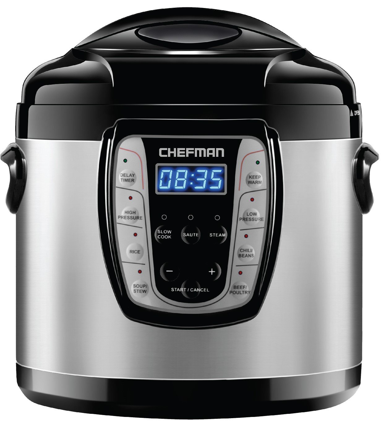 Chefman 6 Qt. Electric Multicooker, 9-in-1 Programmable Pressure Cooker, Prepare Dishes in an Instant, Aluminum Pot Multifunctional Slow Cooker, Rice Cooker/Steamer, Sauté, Soup Maker