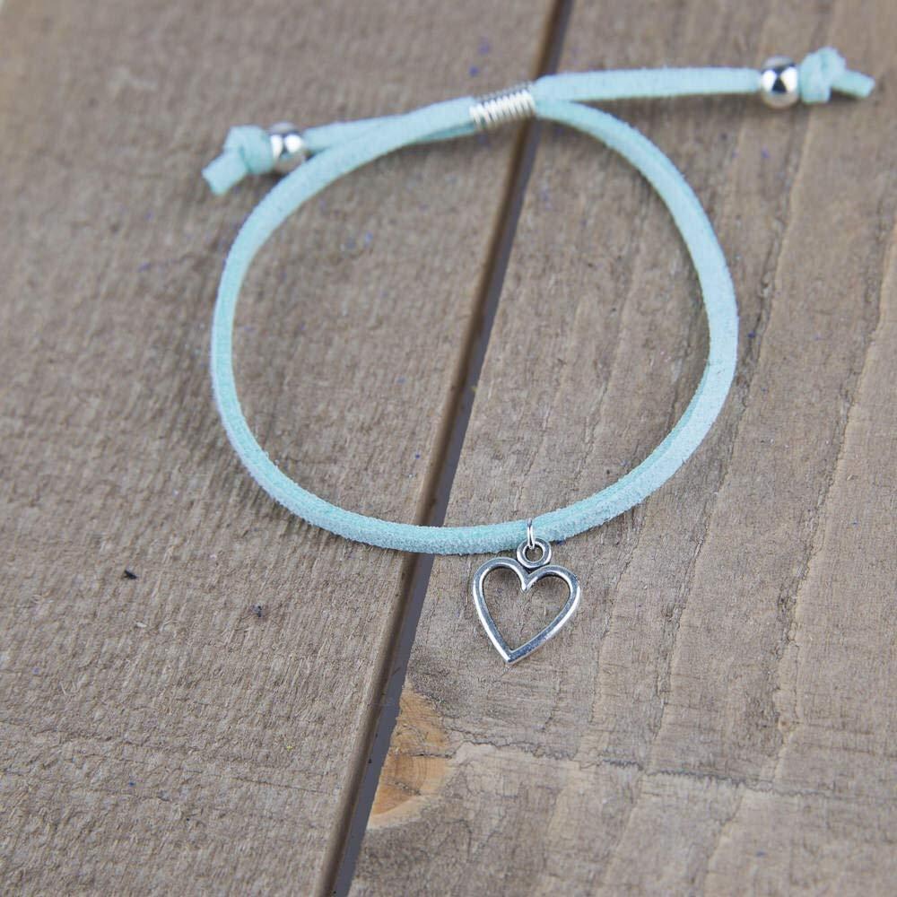 teacher appreciation gifts Thank you teacher gifts for women teacher gifts Aqua heart friendship bracelet with Gift Wrap.