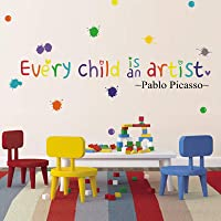 BATTOO Every Child is an Artist Wall Decal Picasso Quote, Watercolor Paint Splash with Dots Sticker Children Artwork…