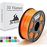 3D Printer Filament - PLA 3D Printer Filament Orange 1.75mm 1KG Spool, Dimensional Accuracy +/- 0.02 mm,(Like Pumpkin Orange)- No Clogging