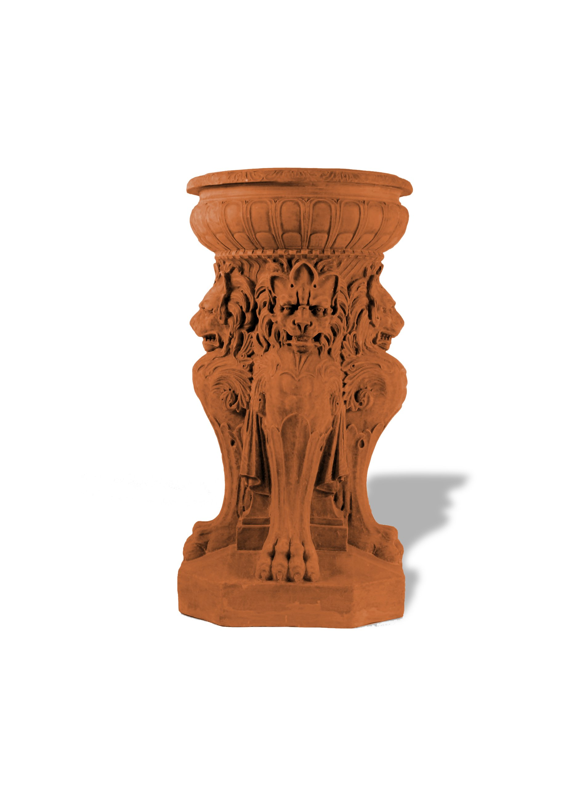 Amedeo Design ResinStone 1001-7T Victorian Lion Fountain / Urn, 18 by 18 by 36-Inch, Terra Cotta