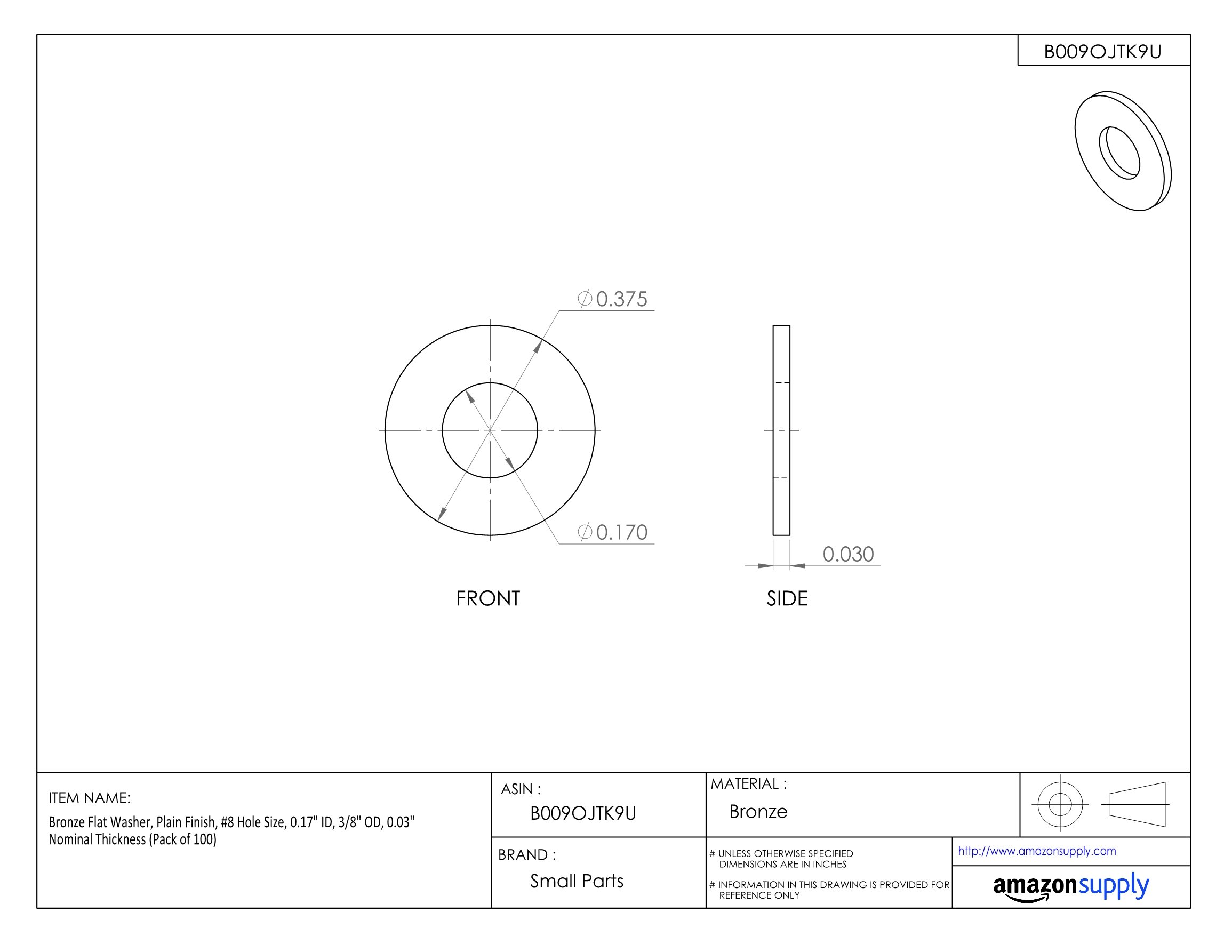 Bronze Flat Washer, Plain Finish, #8 Hole Size, 0.17'' ID, 3/8'' OD, 0.03'' Nominal Thickness (Pack of 100)