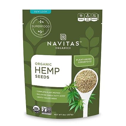 Navitas Organics Hemp Seeds, 8 oz. Bag — Organic, Non-GMO, Low Temp-Hulled, Gluten-Free