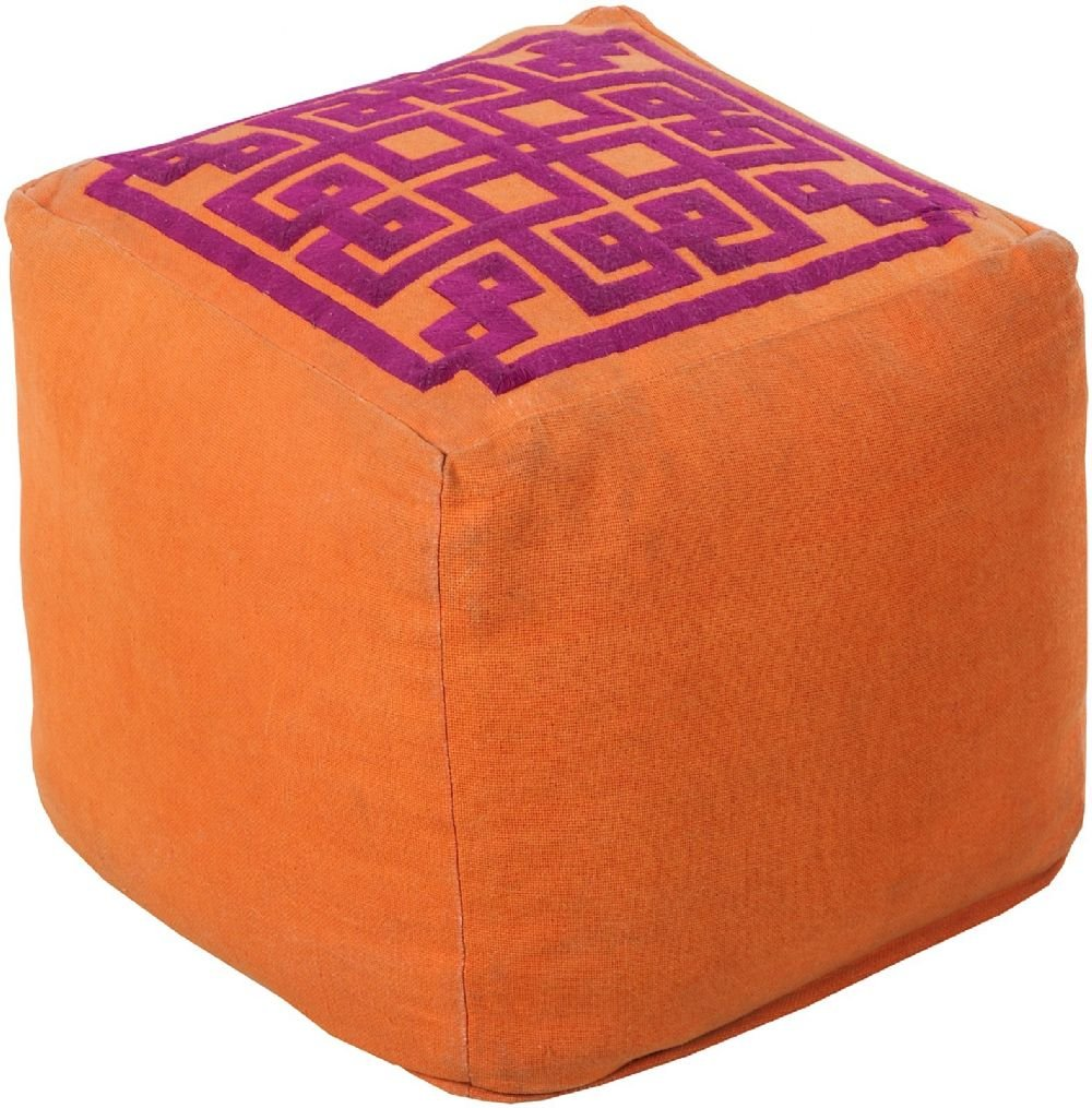 Surya Contemporary Square pouf/ottoman 18''x18''x18'' in Orange Color From Surya Poufs Collection