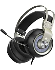 Mpow Gaming Headset with 50mm Drivers, Stereo Surround Sound Gaming Headset with Noise Cancelling Mic & In-Line Control, Over-Ear Soft Memory Earmuff, LED Light, Compatible with PC/PS4/Xbox One/Switch