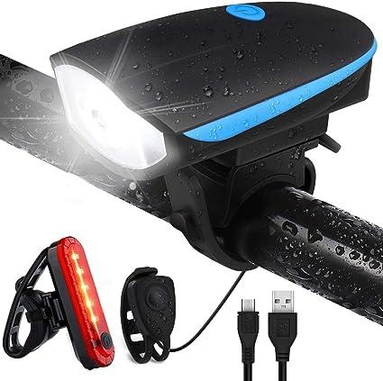 2 In 1 Bicycle Horn+Light USB Charging Bike Handlebar Electronic Horn Lamp