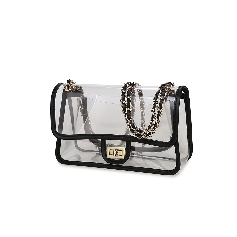 3d487b68a4e5 Lam Gallery Womens Clear Handbag Purses NFL Stadium Approved Clear Bag for  Football Games Turn Lock Chain Shoulder Crossbody Bags Transparent PVC  Vinyl ...