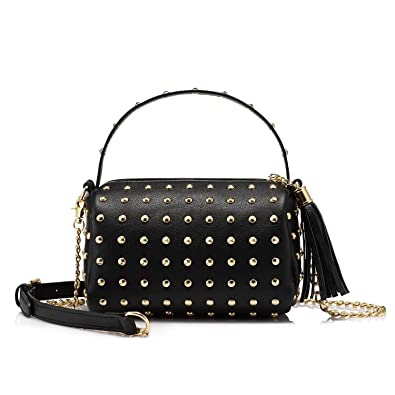 Shoulder Bag Small Side Purse Mini Clutch with Bling Rivets Black ... 3c4a987ed8692