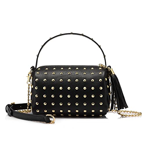 Shoulder Bag Small Side Purse Mini Clutch with Bling Rivets Black ... 5fdfc616c5