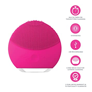 5d7daf3e5 Amazon.com: FOREO LUNA mini 2 Facial Cleansing Brush, Gentle Exfoliation  and Sonic Cleansing for All Skin Types, Fuchsia: Luxury Beauty