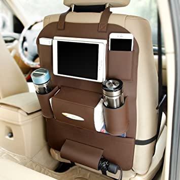 CiaraQ Water Repellent Leather Car Seat Back Organizer And IPad Mini HolderUniversal Use