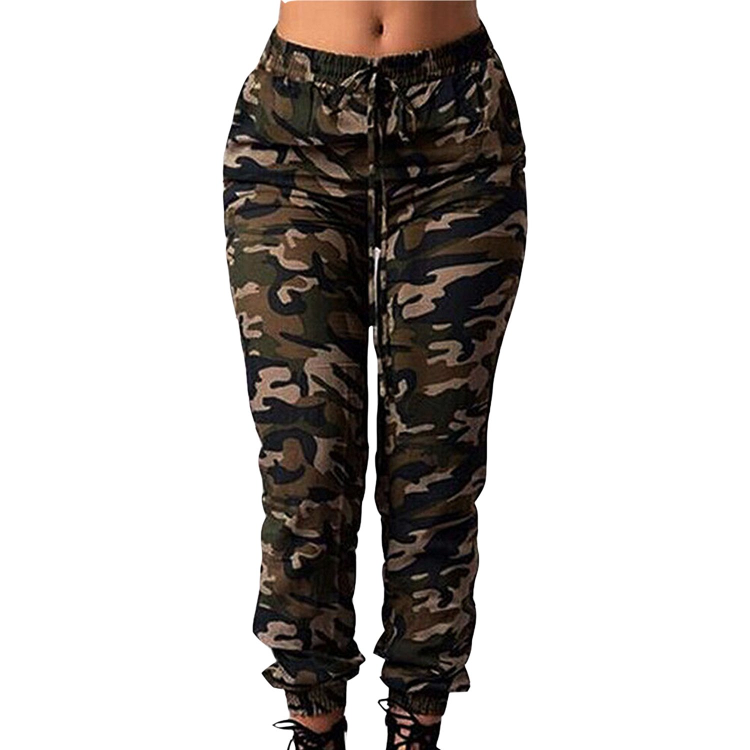 LAEMILIA Women Casual Long Pants Spring Camouflage Loose Trousers Drawstring Outdoor