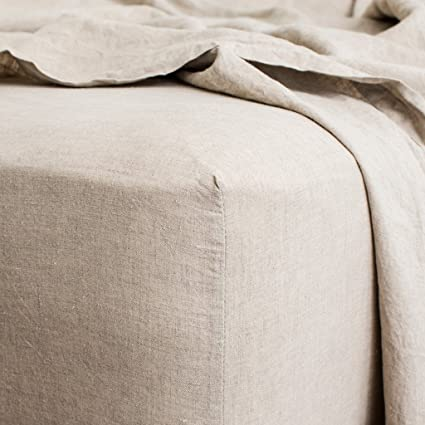 Merryfeel Luxurious 100% Pure French Linen Fitted Sheet   King
