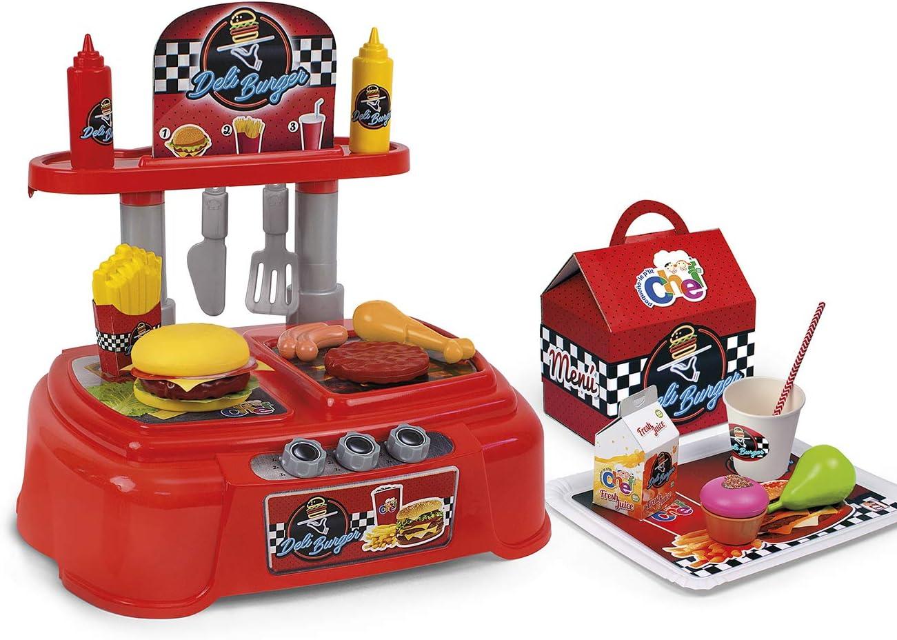 Chicos- Pequeño Chef Deli Burger, Hamburguesería de Juguete con 23 Accesorios, a Partir de 3 Años, Medidas - 50 x 32 x 40 cm (Fábrica 83007.0) , color/modelo surtido