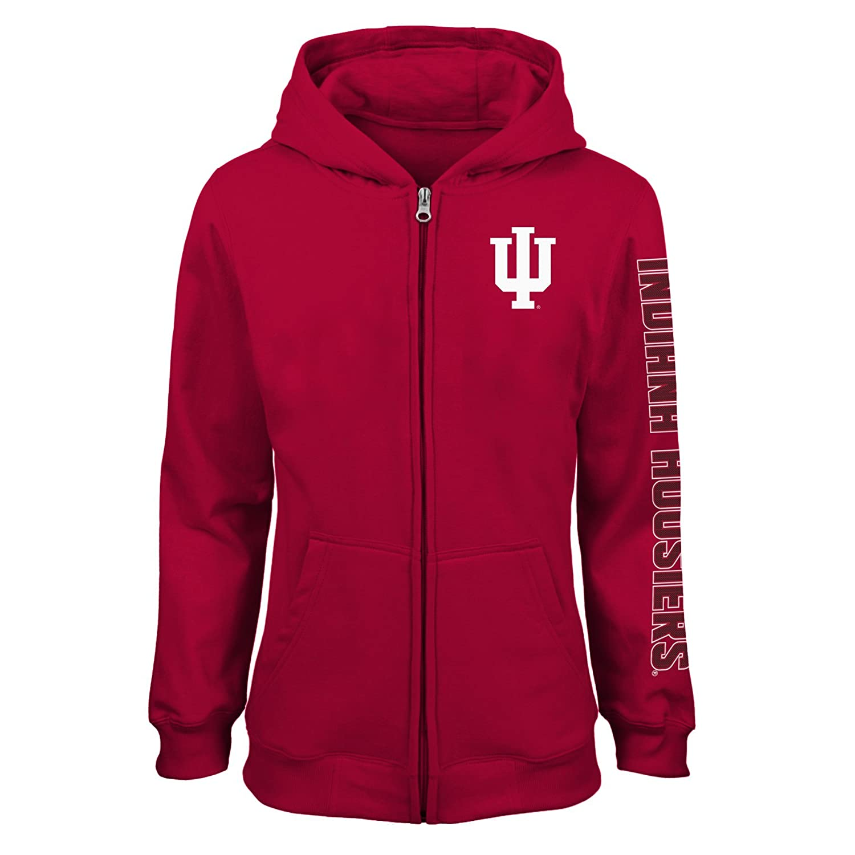 Youth Large NCAA Indiana Hoosiers Girls  Outerstuff Campus Pride Full Zip Fleece Hoodie Team Color 12-14