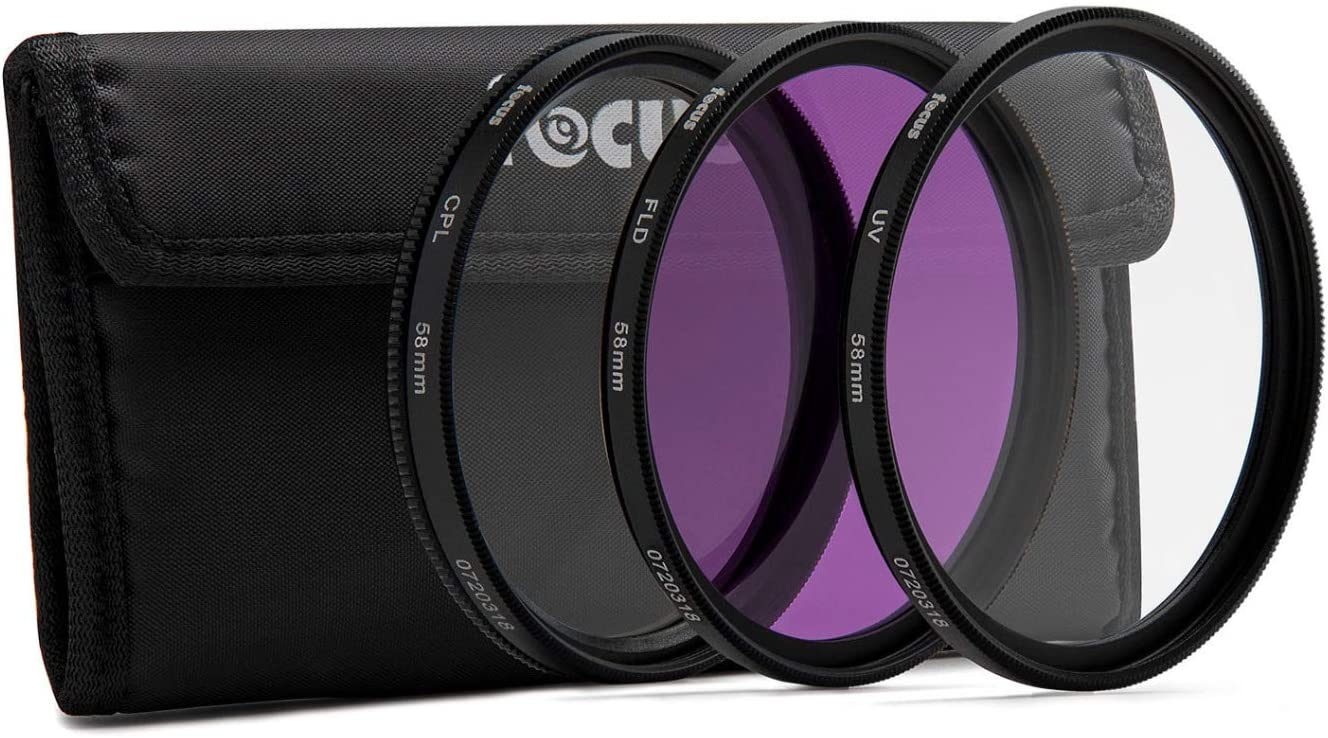 Circular Polarizer and Fluorescent Filter Focus Camera 58mm 3-Piece Filter Kit with UV