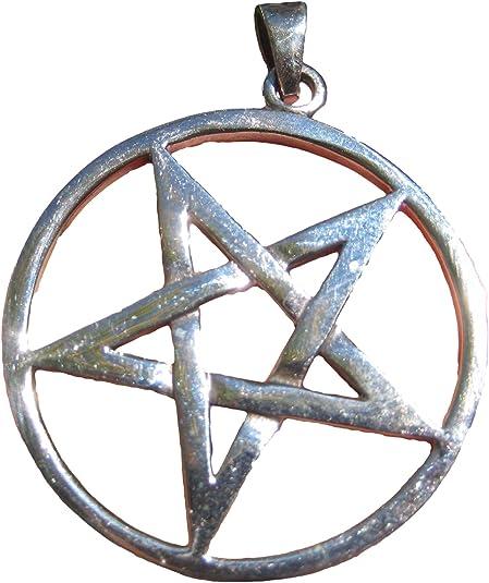 925 sterling silver wicca pentagram pendant necklace jewelry art     A2