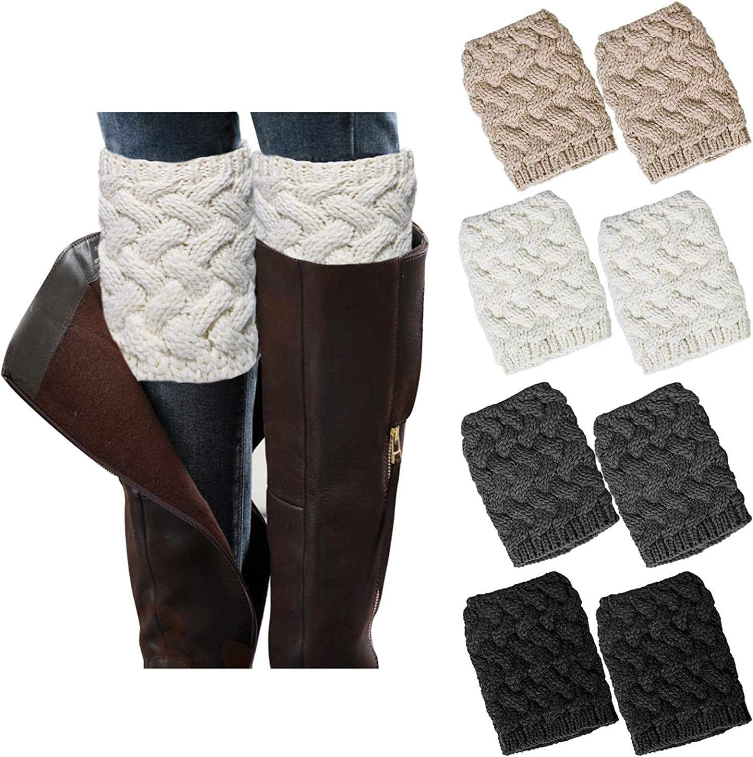 Pair of Women/'s Knitted Boot Cuffs Toppers Short Ankle  Shin Leg Warmers