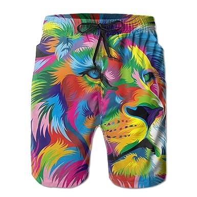 e882e41ddc Amazon.com: Rasta Lion Long Mens Boardshorts Swim Trunks Tropical  Basketball Board Shorts Bathing Swim Trunks: Clothing