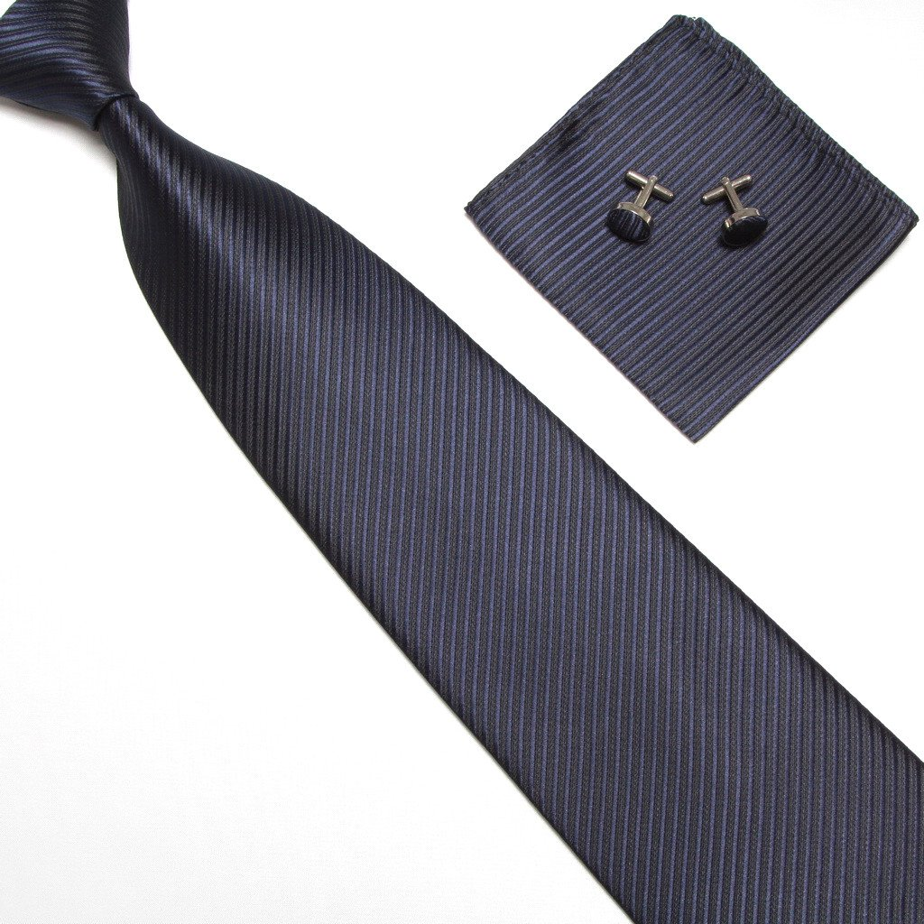 WERLM Jacquard Business Men Stripe Set Tie Mens Tie Pocket Towel Cufflinks Gift Box