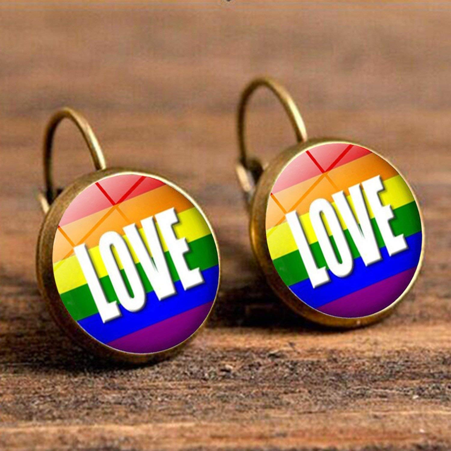 2019 New Arrival Lesbian Gay Pride Earrings Colorful Rainbow Round Glass Dome Stud Earrings For Women Lgbt Jewelry Accessories,22,Bronze Color