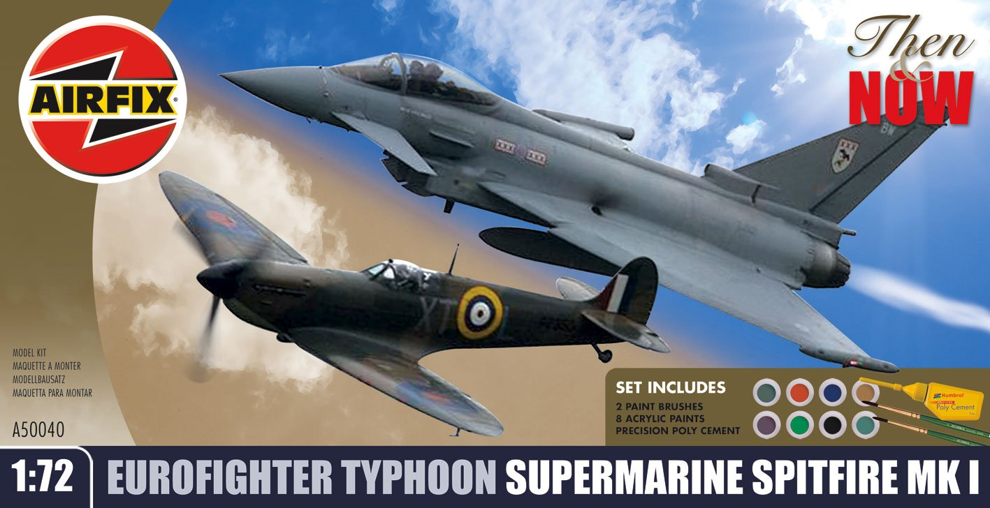 Airfix A50040 1:72 Scale Then & Now Eurofighter Typhoon and Supermarine Spitfire Twin Gift Set with Paints, Glue and Brushes B001YZ2VKW White-411 White-411