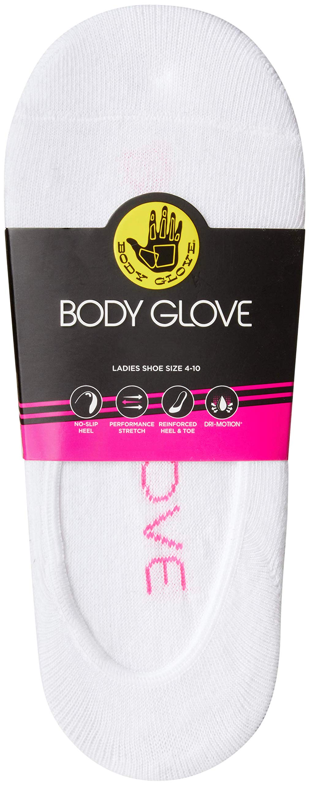 Body Glove Women's No Show Non-Slip Grip Liner Socks With Reinforced Heel And Toe (6 Pack)