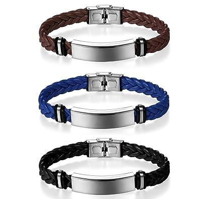 JewelryWe Bijoux 3PCS Bracelet Homme Femme Polissage Gravure Personnaliser  Tressé Manchette Cuir Acier Inoxydable Fantaisie Couleur 0f9503b7ddbc
