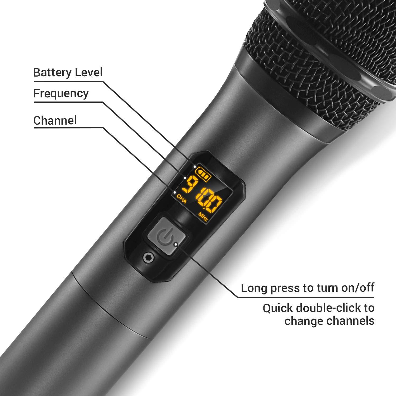 TONOR Micrófono Inalámbrico Dual Sistema de Micrófono Inalámbrico de Mano Profesional UHF, Set KTV Hogar para Karaoke, DJ, Fiesta, Boda Exterior