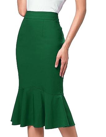 5489df59e5f4 Kate Kasin Women s Stretchy Mermaid Hem Bodycon Office Pencil Skirt ...
