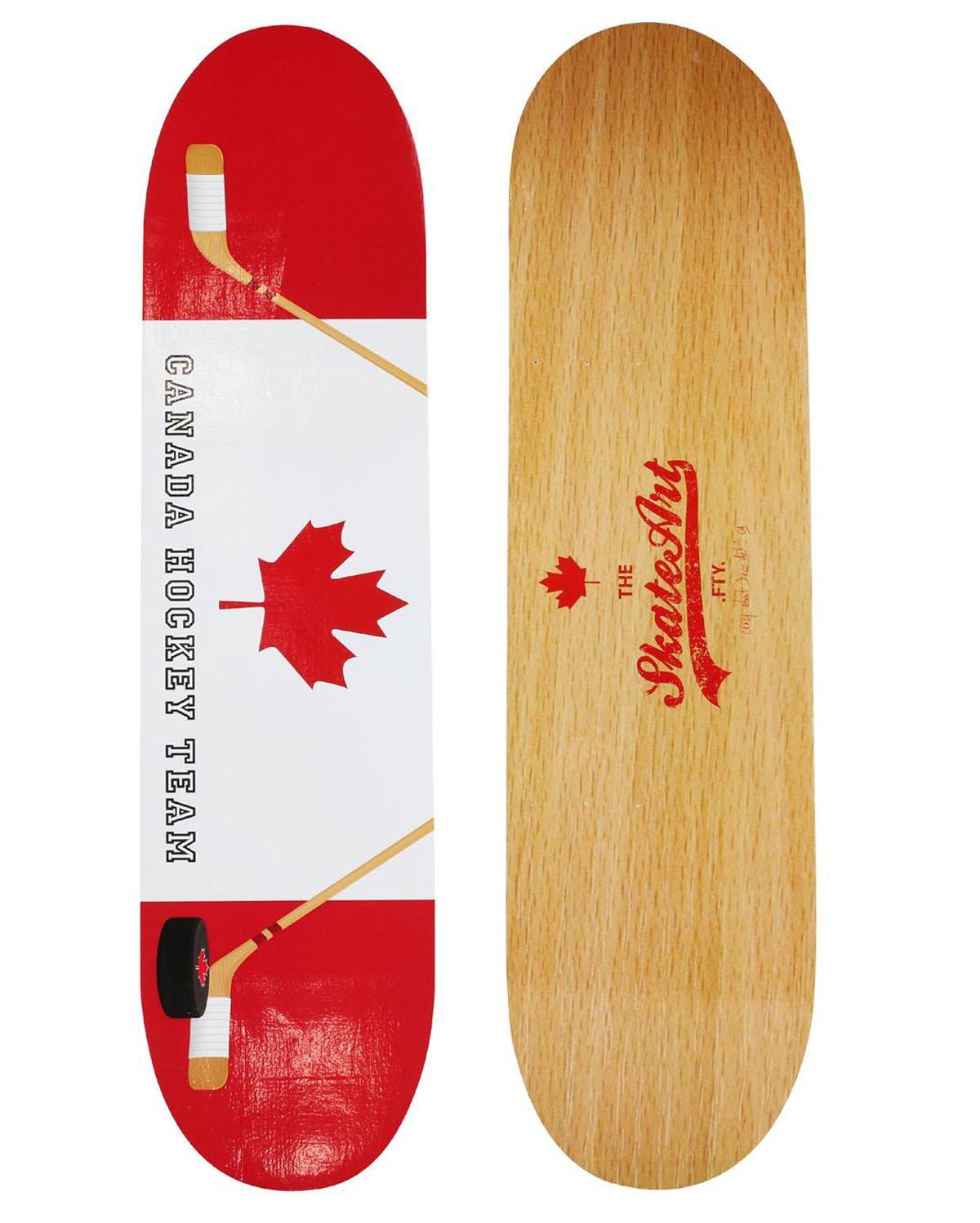 Etagère murale Skate Canada en bois coloris beige/rouge/blanc - Dim : H 1 x L 60 x P 15 cm - PEGANE -