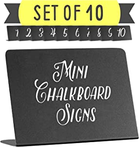 Mini Chalkboard Tabletop Signs - For Liquid Chalk Markers and Chalk - Display Chalkboard Signs - Table Numbers - Food Labels For Party - Wedding Table Signs - Deli Counter signs - 3x4x1.5in. set of 10